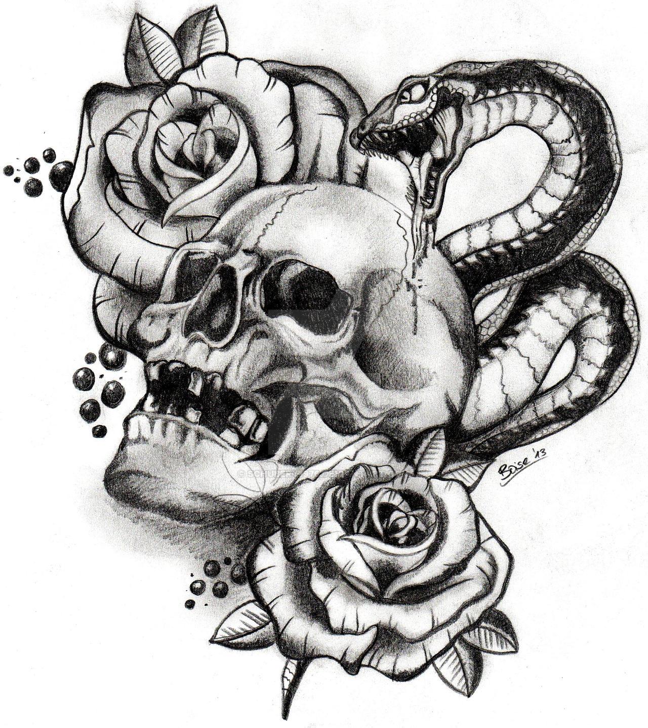 Skull And Snake By Boise by schubert1976 on DeviantArt Cobra Skeleton Tattoo