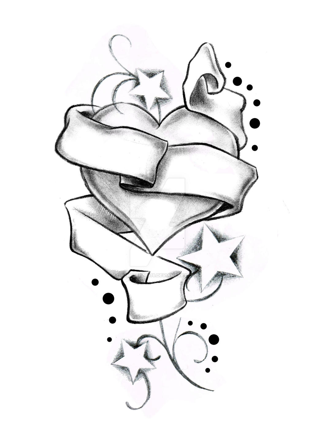Heart Stars And Banner By Boise Of Lowrider Ink By