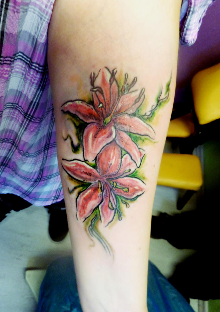 watercolor lilies tattoo by boise by schubert1976 on
