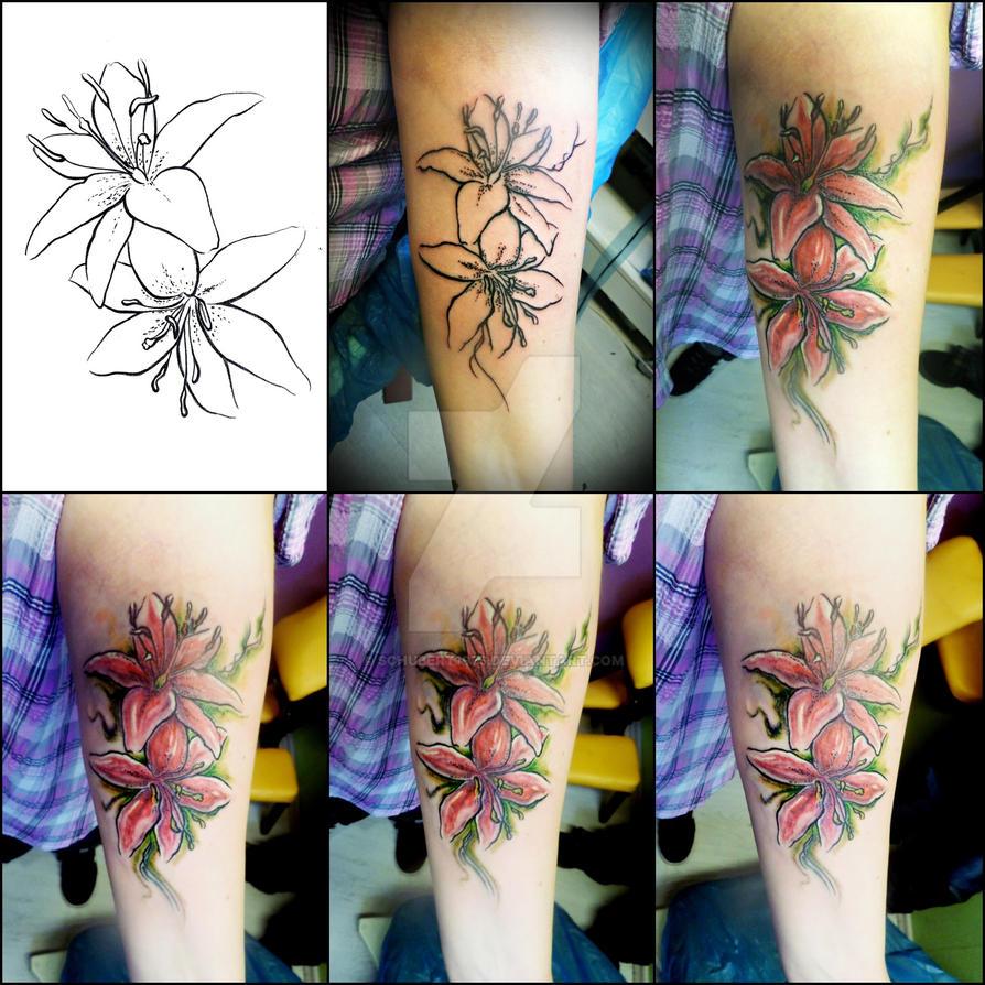 d44e738f5 Watercolor Lilies Tattoo Making-Of by schubert1976 on DeviantArt