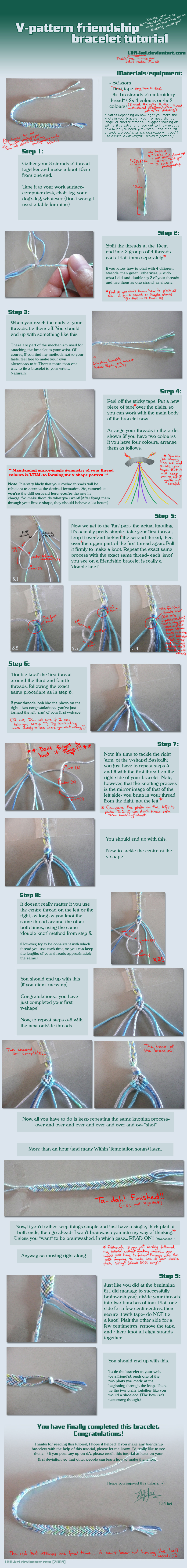 Friendship bracelet tutorial by llifi-kei