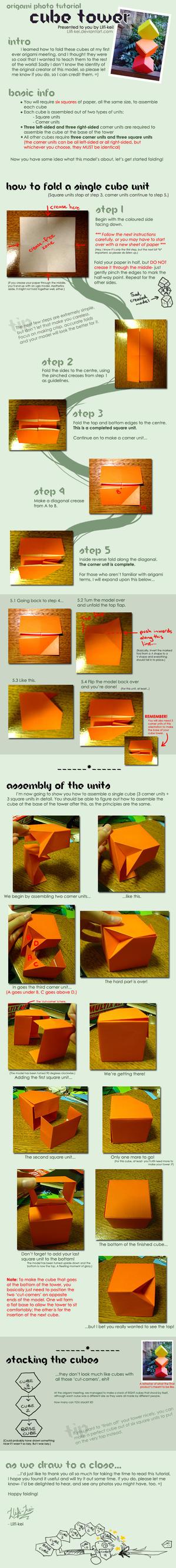 Origami tutorial: Cube tower by llifi-kei