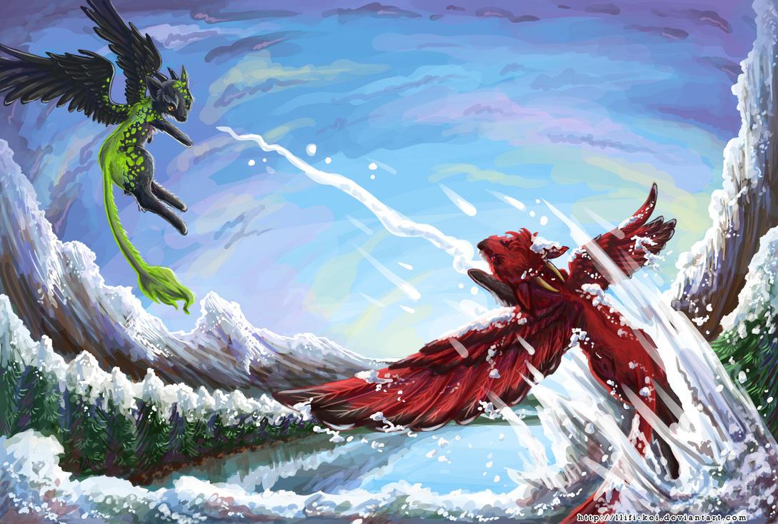 Epic snowball fight by llifi-kei