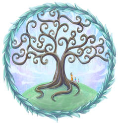 Tree of life with willow leaves