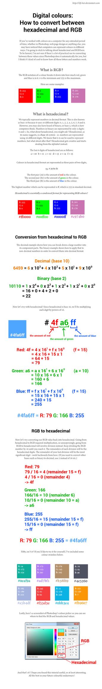 How to convert between hexadecimal and RGB by llifi-kei
