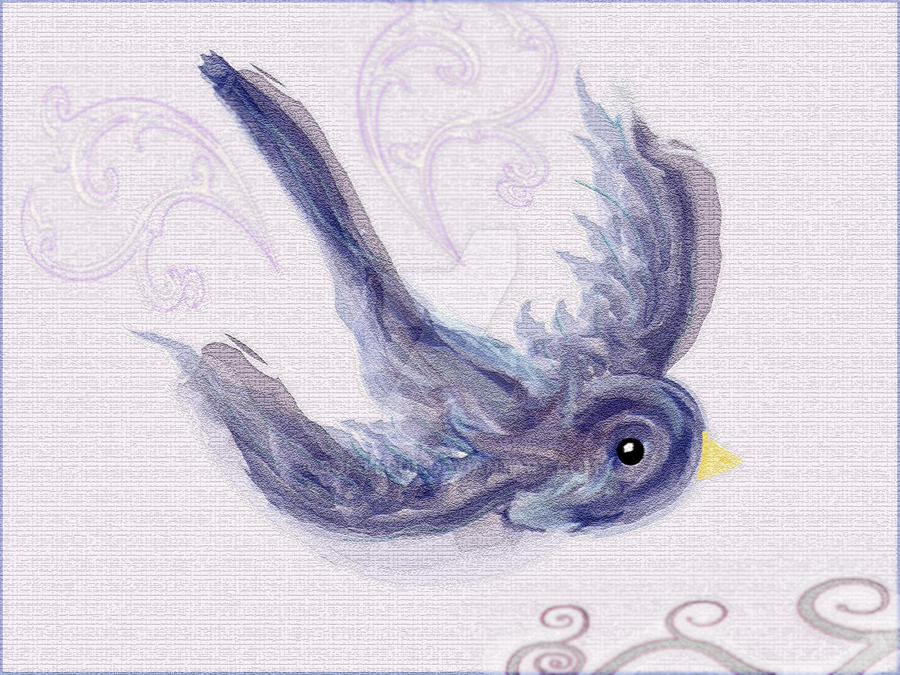Watercolor Bird Flying Watercolor Flying Bird by