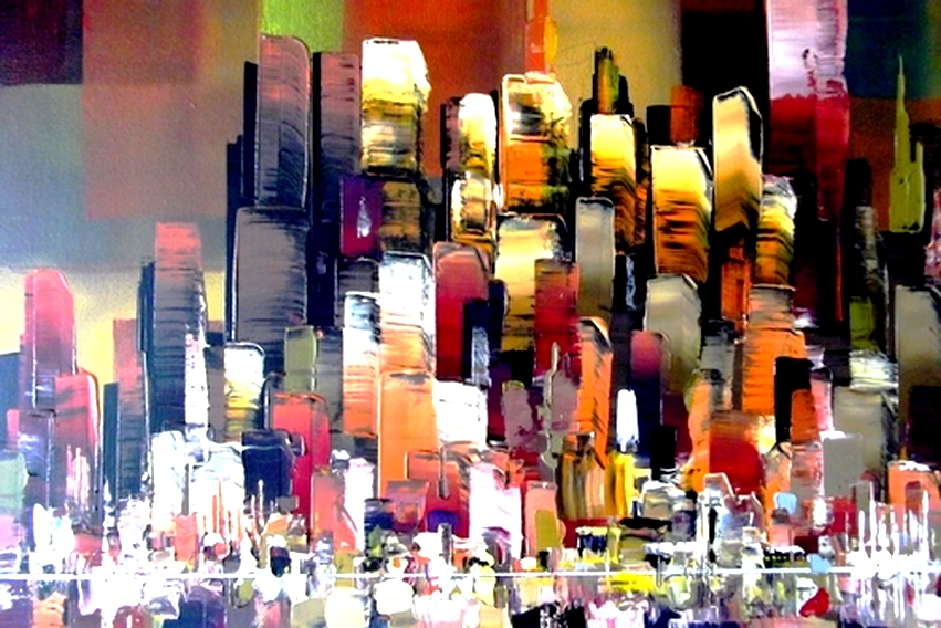 City Mega Buildings Skyline Painting By Eraclis By