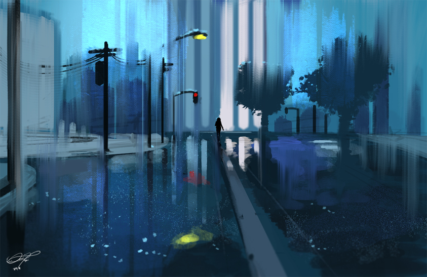 Images Of Rainy City Wallpaper Painting
