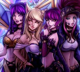 K/DA Kai'sa, Ahri, Evelynn and Akali by Hinata1495