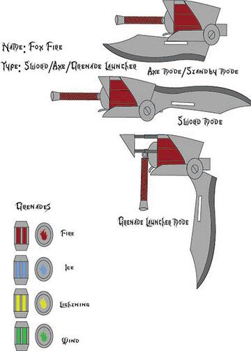RWBY Weapon Version 2: Fox Fire by joshwolf999
