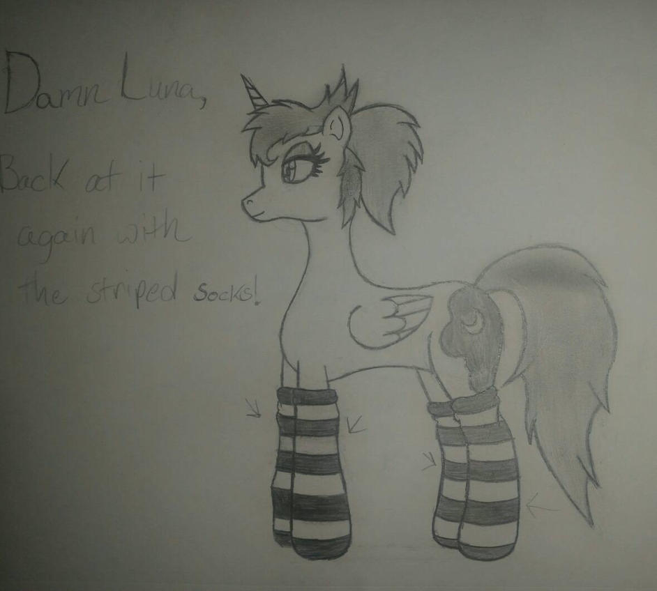Damn Luna, back at it again with the striped sock! by joshwolf999