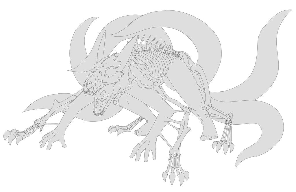 Day 10 Naruto Kyuubi 6 tails Fan Art linework by ...