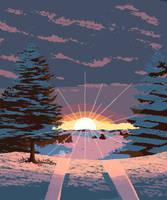 Pixel Art Winter Road by pink-ninja