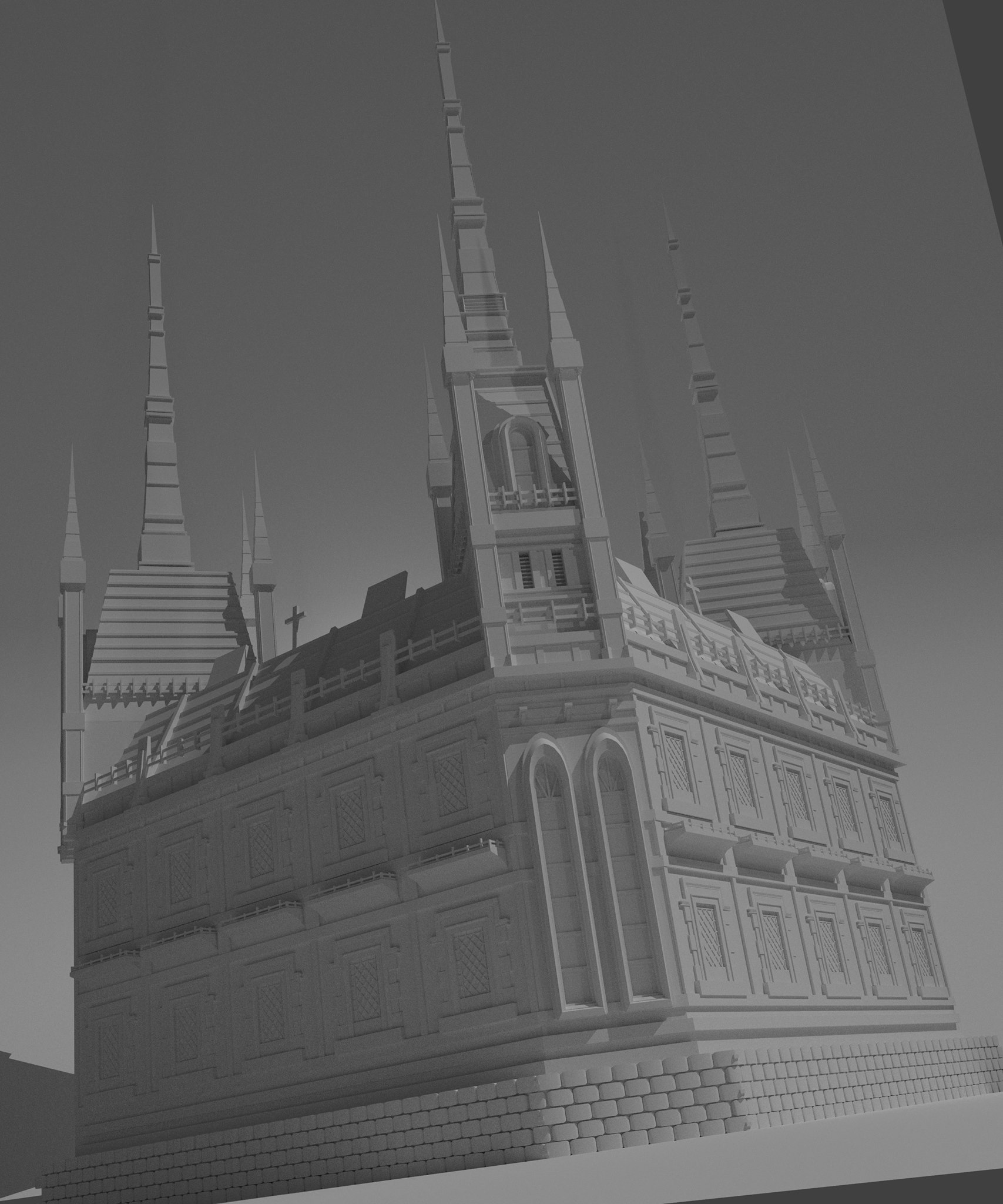 MikeGeneSkinner Gothic Style Church Made In Blender By