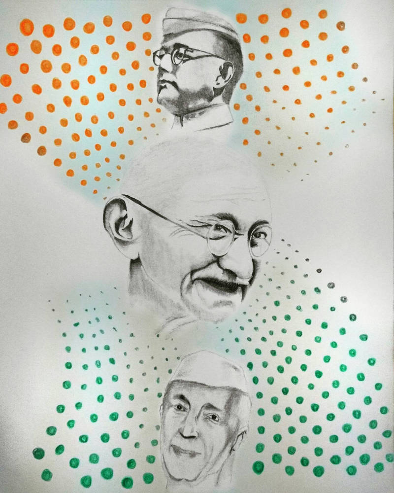 Pencildrawing independenceday mahatmagandhi sb by gijogeorge on