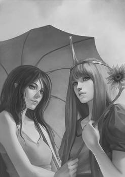 Sunflower and Umbrella