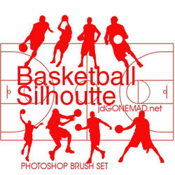 High Quality Basketball Silhouette Photoshop Brush