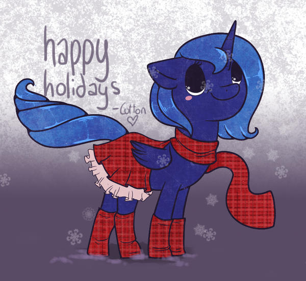 Happy Holidays from Luna by cappydarn