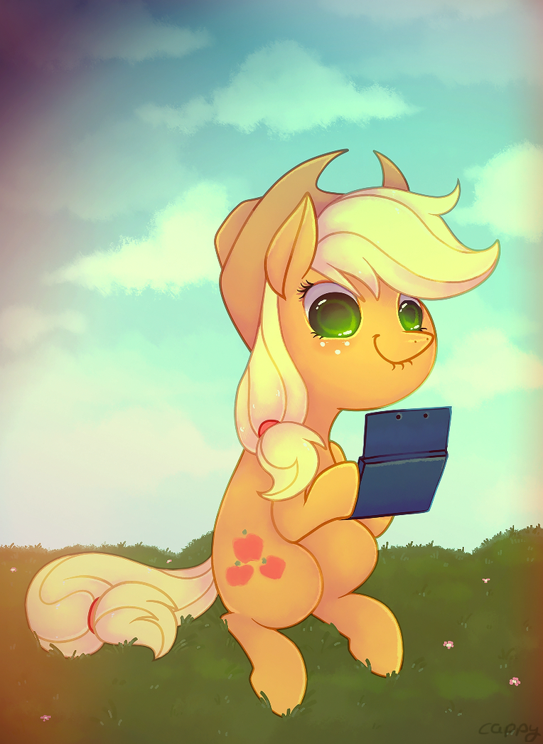 Applejack playin video game by cappydarn