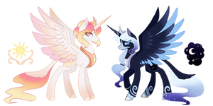 Princess Celestia and Princess Luna Redesign by GhostlyKittyCat