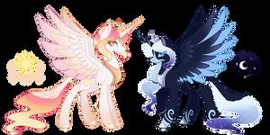 Princess Celestia and Princess Luna Redesign by GhostlyKittyCat