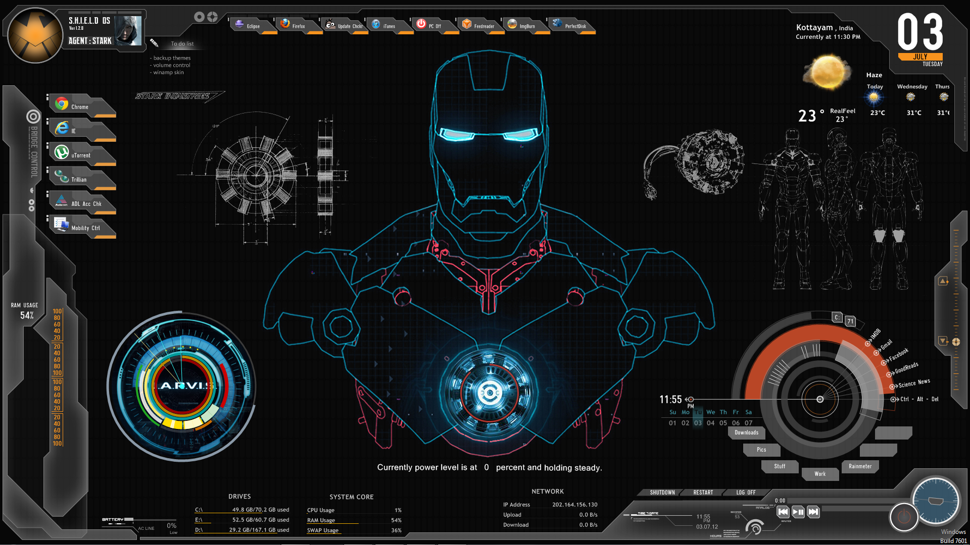 Shield ironman jarvis rainmeter theme screenshot by for Deviantart rainmeter