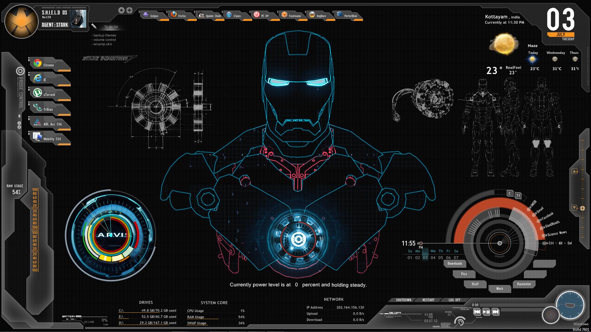 shield ironman jarvis rainmeter theme screenshot by ferozkhanhamid
