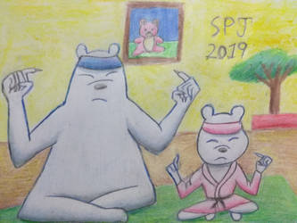 Ice bear and his daughter meditation by Romethehybrid