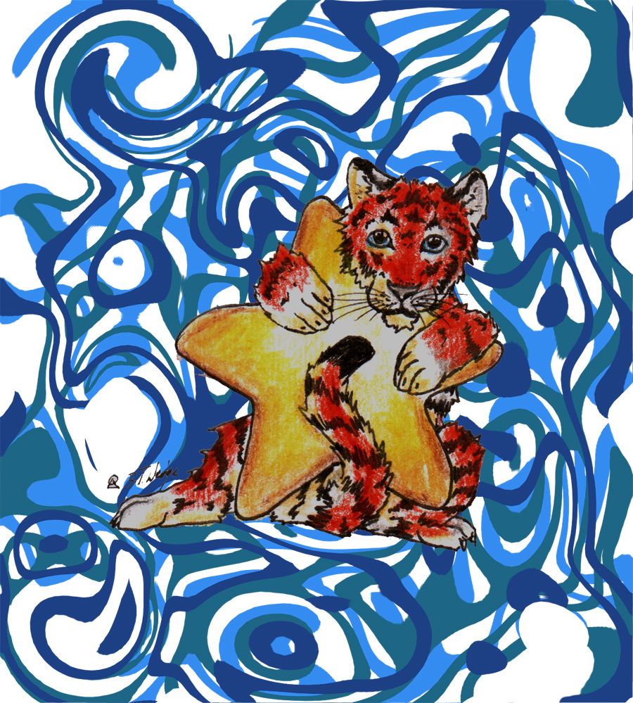 Tiger and Distorted Blue by BriannaTWedge