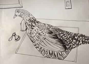 Chicken in a sink