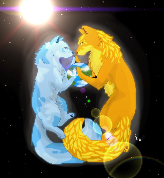 Sun and Moon wolf by celou101 on DeviantArt