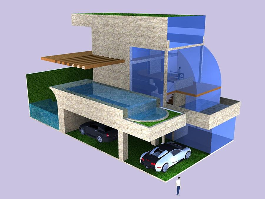 Modern House with Green Roof by magnusatthva on DeviantArt