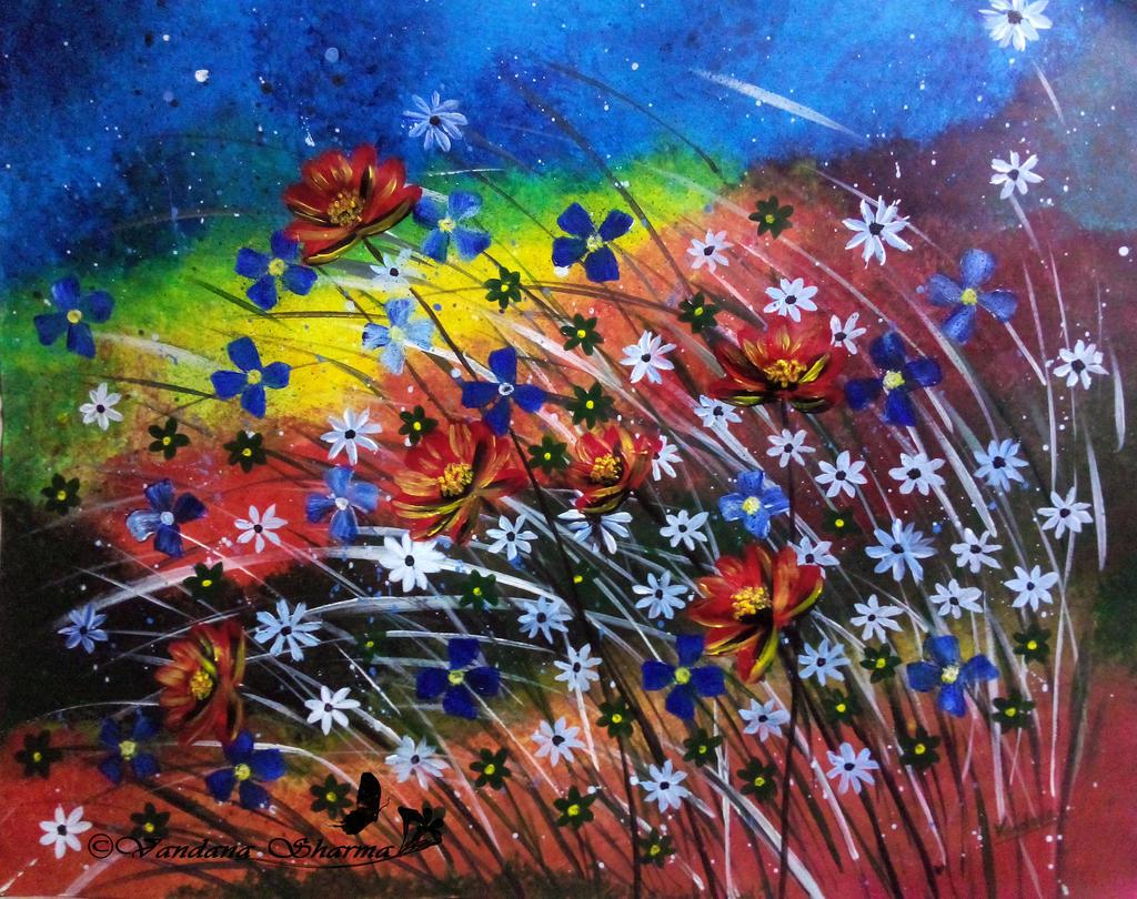 Rainbow Garden by VandanaSharmaArts