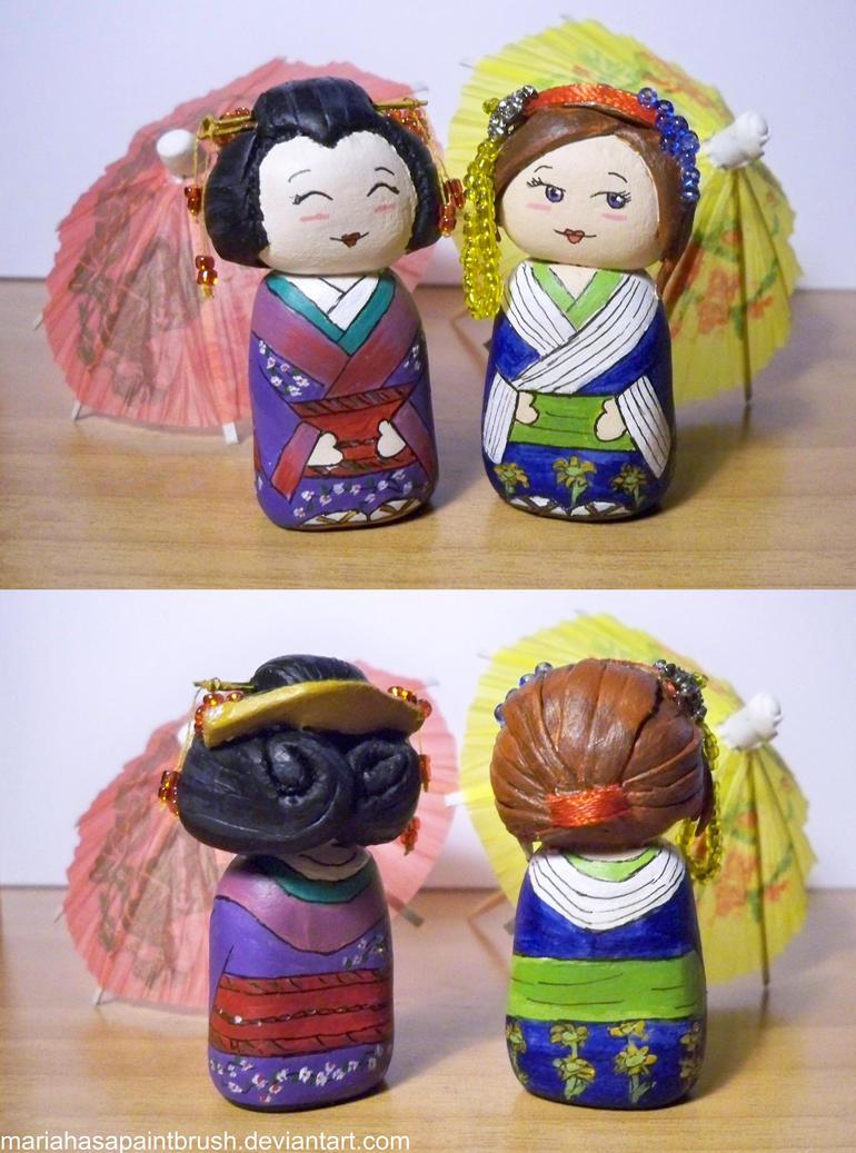 Art Trade-Kimono Girls by MariaHasAPaintBrush