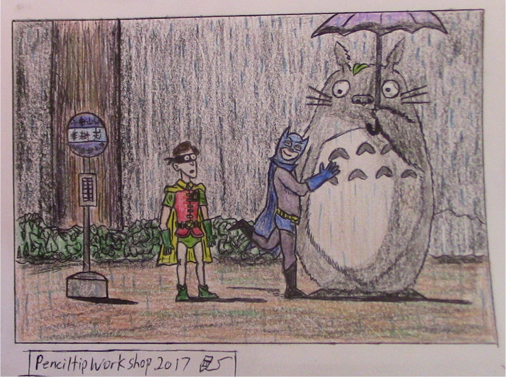 Fanart Challenge Submission-Batman and Totoro by PenciltipWorkshop