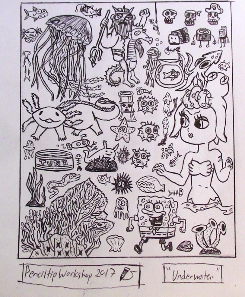 Inktober-Day 4- Underwater Doodles by PenciltipWorkshop