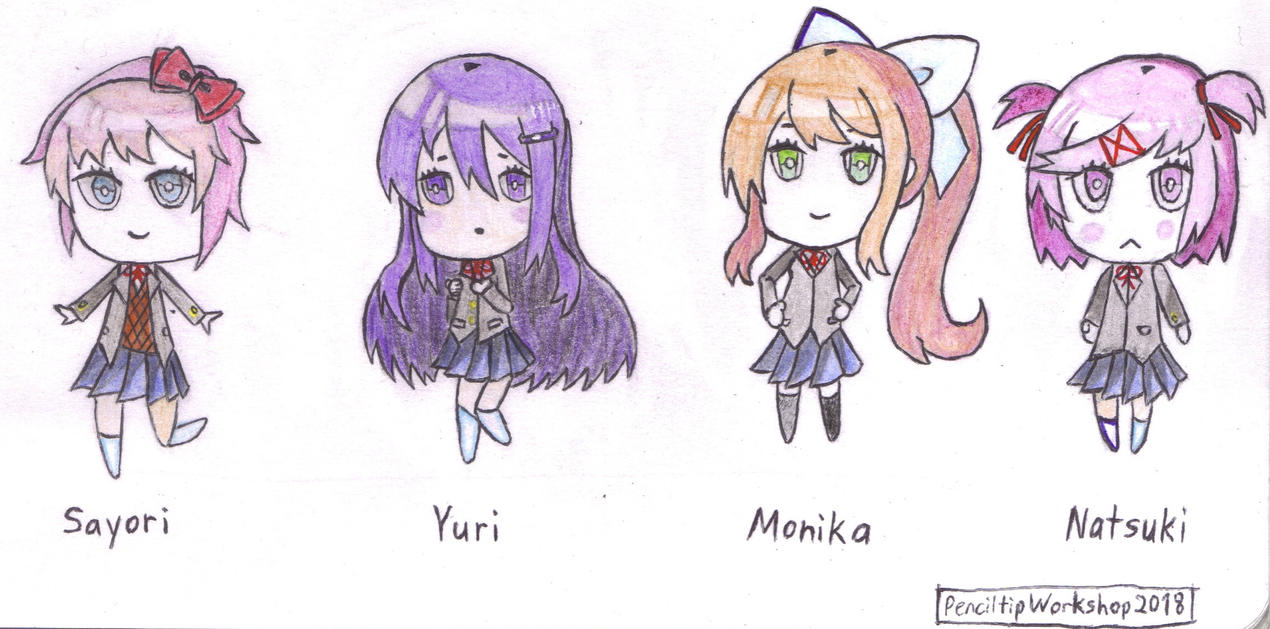 Doki Doki Literature Club Chibis by PenciltipWorkshop