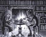 Snape + Granger-- Books + Tea