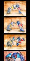 Grimlock vs. Prime by The-Starhorse