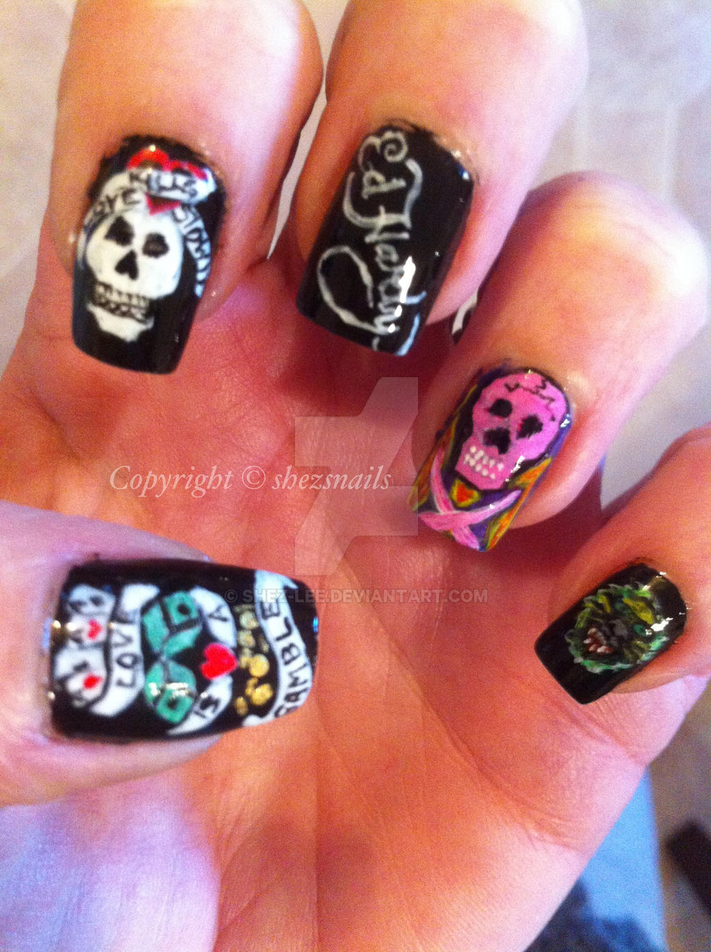 Nail Art Ideas » Ed Hardy Nail Art - Pictures of Nail Art Design Ideas