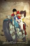 Handesigner Lupin E Fujiko On Motorbike