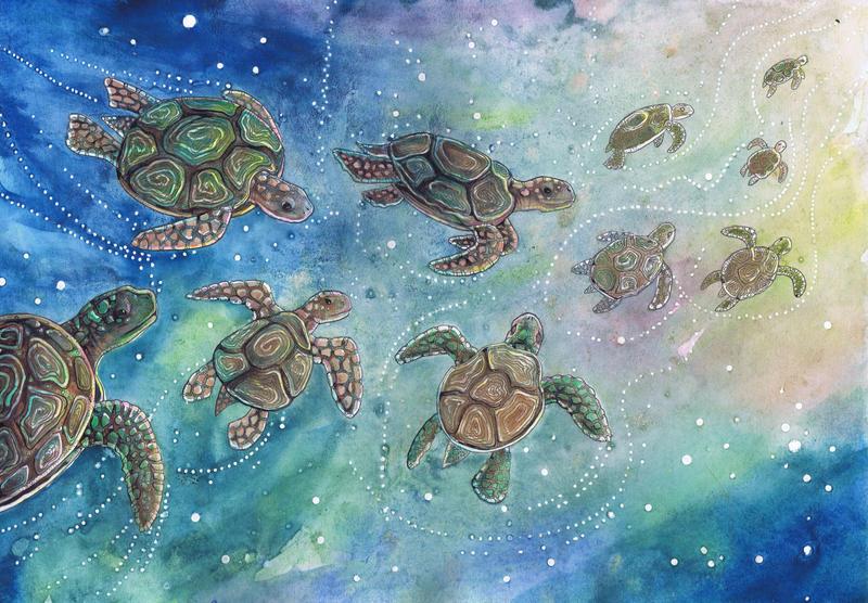 Little batik Sea Turtles by dawndelver