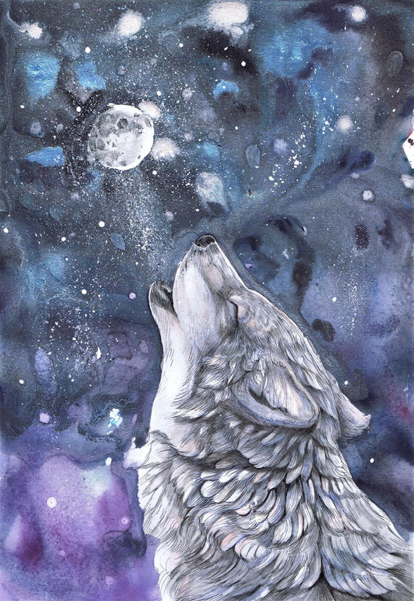 Alone Wolf Moon by dawndelver