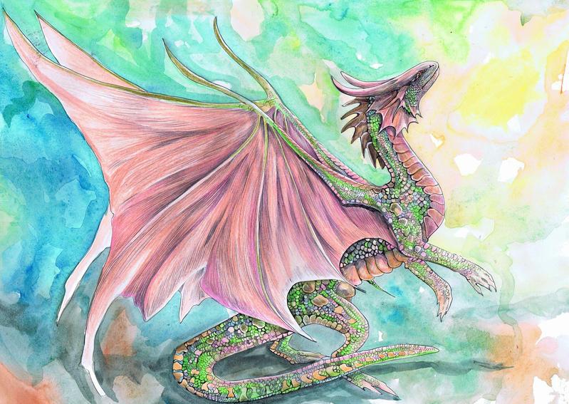 Peach Tree Dragon by dawndelver