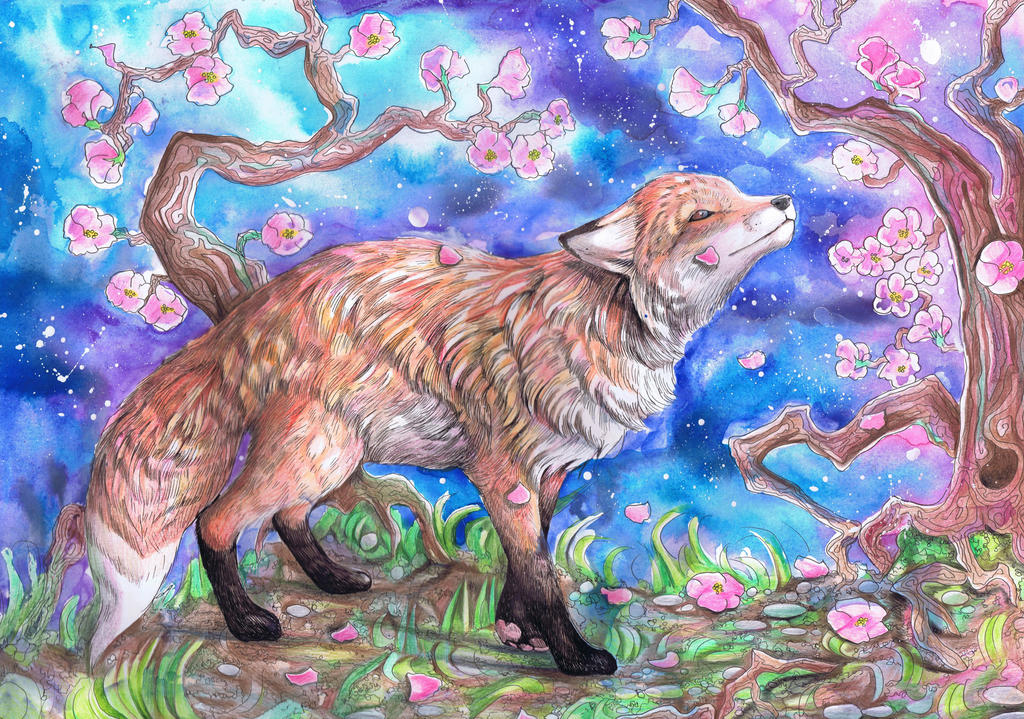 Fox in Blossom by dawndelver