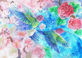 Pink and Green Humming Birds With Flowers by dawndelver