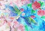 Pink and Green Humming Birds With Flowers