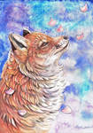 Fox with falling Blossom