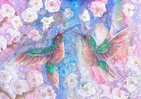 Peach and Green Humming Birds by dawndelver