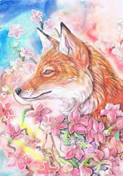 fox in pink flowers by dawndelver